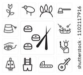 set of 13 icons such as sushi ...