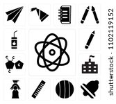 set of 13 icons such as physics ...