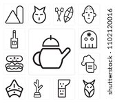 set of 13 icons such as tea ...