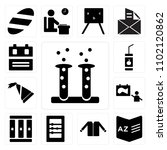 set of 13 icons such as test...