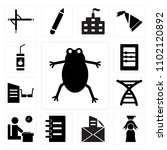 set of 13 icons such as frog ...