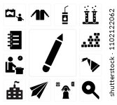 set of 13 icons such as pen ...