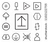 set of 13 icons such as upload  ...