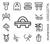 set of 13 icons such as geta ...