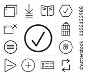 set of 13 icons such as check ...