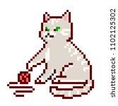 cute grey striped cat sitting... | Shutterstock .eps vector #1102125302