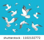 Set Of Seagull. Vector...