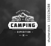 camper logo design template... | Shutterstock .eps vector #1102136288