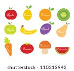 vector fruit and vegetables | Shutterstock .eps vector #110213942