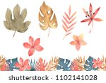 hand drawn watercolor tropical... | Shutterstock . vector #1102141028