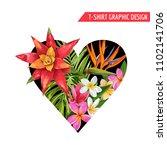 love romantic floral heart... | Shutterstock .eps vector #1102141706