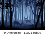 Vector Blue Night Forest...