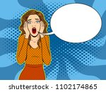 woman scream pop art retro... | Shutterstock .eps vector #1102174865