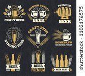 brewery labels isolate on dark... | Shutterstock . vector #1102176575