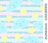 seamless sun and stars pattern... | Shutterstock .eps vector #1102183502