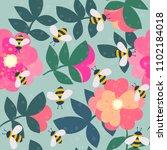 vector cute cartoon bee and...   Shutterstock .eps vector #1102184018