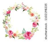 wedding frame wreath green and... | Shutterstock . vector #1102198235