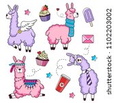 cute llama characters set with...   Shutterstock .eps vector #1102203002