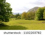 a meadow  trees and hills in... | Shutterstock . vector #1102203782
