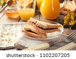 toasted sandwiches with... | Shutterstock . vector #1102207205