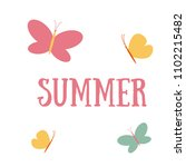 vector illustration with summer ... | Shutterstock .eps vector #1102215482
