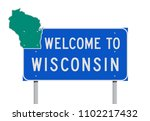 welcome to wisconsin road sign | Shutterstock .eps vector #1102217432