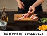 preparing quail specialty ... | Shutterstock . vector #1102219625
