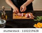 preparing quail specialty ... | Shutterstock . vector #1102219628