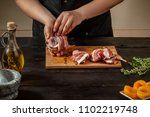 preparing quail specialty ... | Shutterstock . vector #1102219748