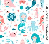 seamless childish pattern with... | Shutterstock .eps vector #1102242848