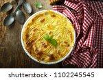 homemade shepherd's pie with... | Shutterstock . vector #1102245545