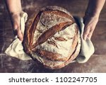 homemade sourdough bread food... | Shutterstock . vector #1102247705