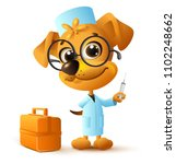 funny yellow dog doctor vet... | Shutterstock .eps vector #1102248662