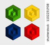 four 3 dimensional square on a...   Shutterstock .eps vector #1102251938