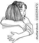 vector art drawing of woman... | Shutterstock .eps vector #1102255472