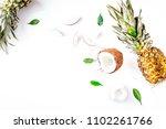 summer dessert with pineapples... | Shutterstock . vector #1102261766