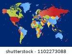 color world map vector | Shutterstock .eps vector #1102273088
