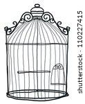 bird cage vintage b w hand... | Shutterstock . vector #110227415