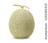 Small photo of Cantaloupe melon in full fruit showing its net rind pattern, isolated on white background with clipping path