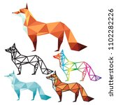 fox and wolf polygon logo...   Shutterstock .eps vector #1102282226