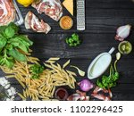 pasta penne and ingredients for ... | Shutterstock . vector #1102296425