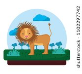 adorable lion wild animal in... | Shutterstock .eps vector #1102297742