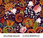 roses vector pattern. colorful... | Shutterstock .eps vector #1102300412