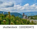 Small photo of A big stone scaur, green hills and creeping pines in Carpathian mountains in the summer. Mountains landscape background. Nature beauty