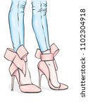 long slender legs in tight... | Shutterstock .eps vector #1102304918