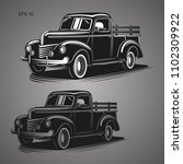 Old Farmer Pickup Truck Vector...