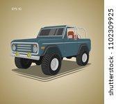 vintage offroad truck vector... | Shutterstock .eps vector #1102309925