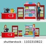 supermarket shelvings with... | Shutterstock .eps vector #1102310822