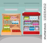 supermarket shelvings with... | Shutterstock .eps vector #1102314212