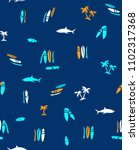 seamless pattern vector. shark  ... | Shutterstock .eps vector #1102317368